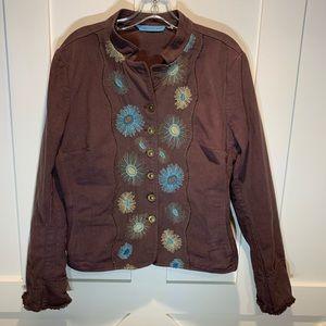 Johnny Was brown denim embroidered jean jacket
